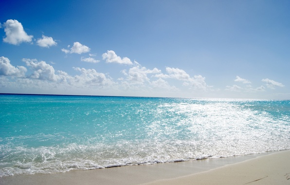 Picture sand, sea, wave, beach, summer, the sky, water, the sun, clouds, light, landscape, blue, heat, …