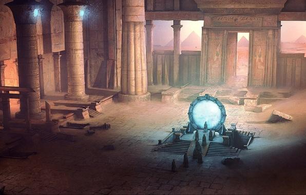 Picture sand, people, Stargate, art, columns, temple, pyramid, ruins, the gates, David Munoz Velazquez