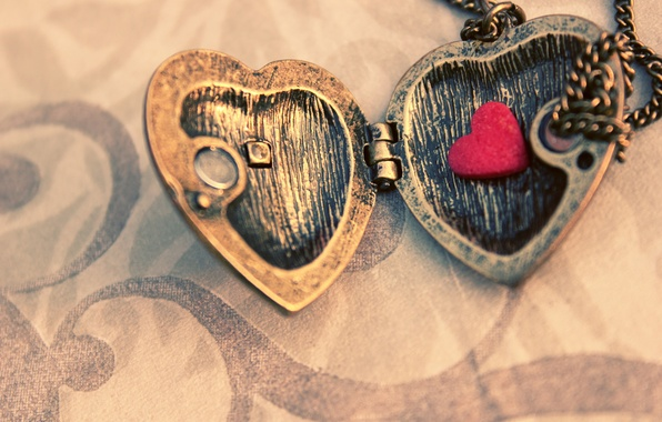 Picture macro, metal, pendant, chain, heart, suspension, sash