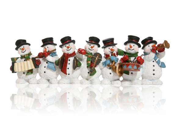 Picture new year, Christmas, snowman, new year, Christmas, Musical instruments, band, Music Instruments, Snowmen