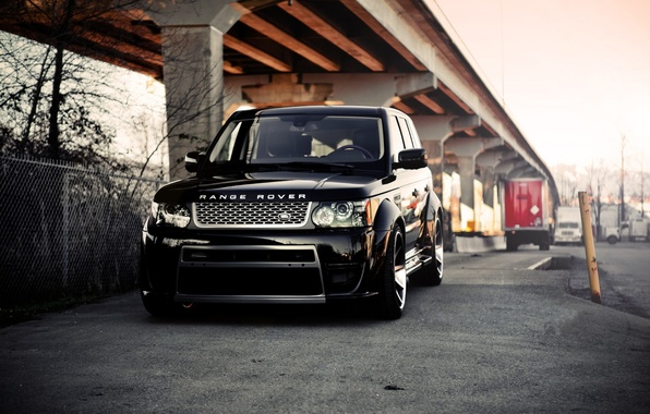 Picture bridge, black, the fence, black, land rover, columns, range rover, the front, range Rover, land …