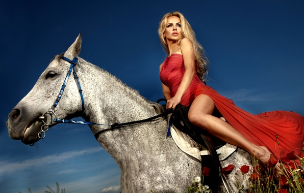 Picture field, look, girl, horse, red, model, horse, Maki, dress, blonde, reasons