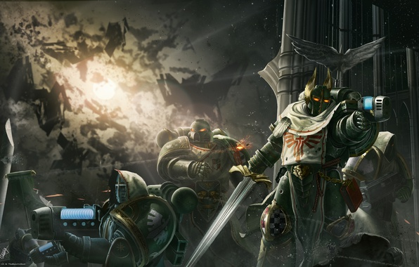 Picture weapons, war, armor, Warhammer 40K, the Dark Angels