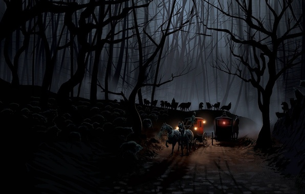Picture road, forest, night, wolves, the crew, coach