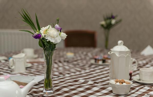 Picture flowers, reflection, table, bouquet, kettle, vase, coffee pot