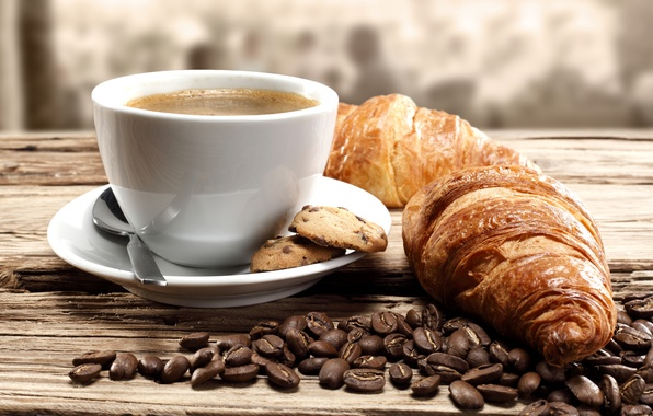 Picture coffee, cookies, coffee beans, coffee, croissants, biscuits, coffee beans, growing