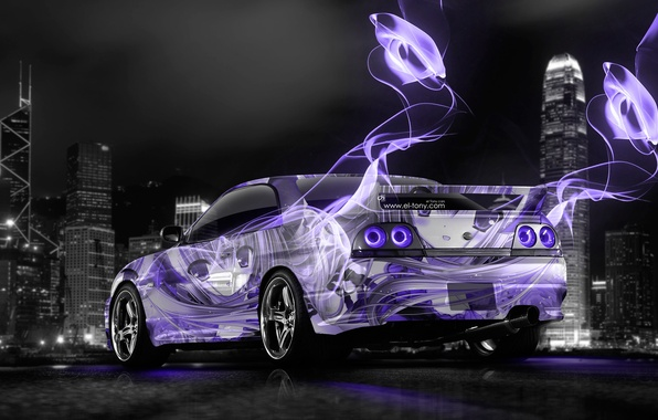 Picture Night, The city, Neon, Girl, Nissan, Wallpaper, GTR, City, Anime, Nissan, Purple, Art, Anime, Photoshop, ...