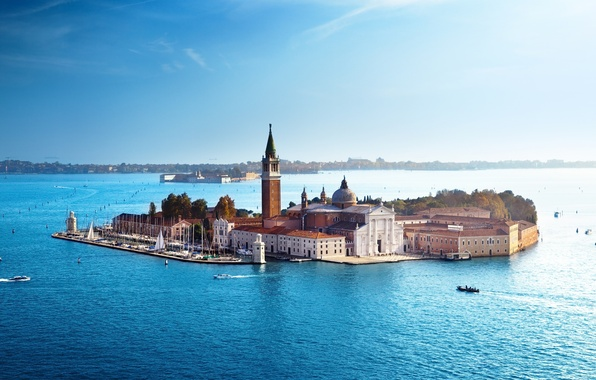 Picture sea, the sky, water, people, home, boats, Italy, Venice, architecture, Italy, Venice
