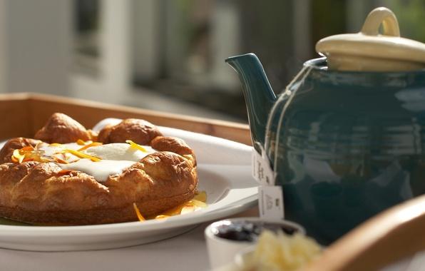 Picture Food, Breakfast, Tea, Kettle, Bun, Bun