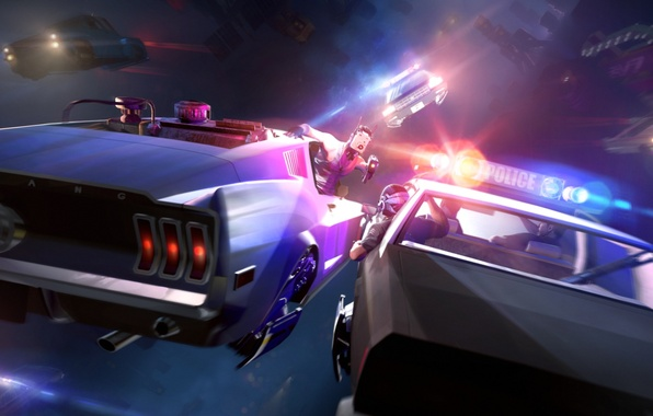 Picture fiction, police, chase, mustang, art, future