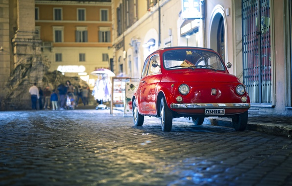 Picture night, lights, reflection, people, street, lights, stores, Fiat, classic, city, city, 500px