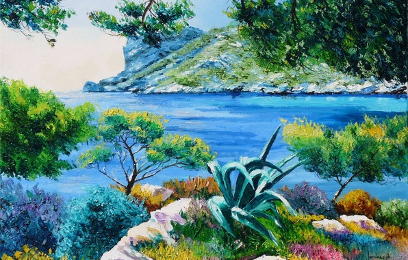 Picture sea, Islands, trees, landscape, branches, stones, shore, picture, art, Laguna, Jean-Marc Janiaczyk