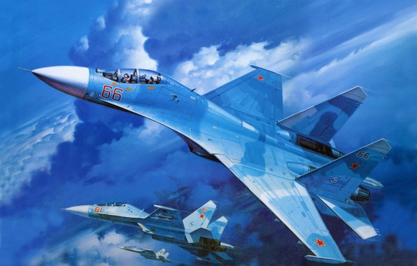 Picture the sky, stars, aviation, blue, the plane, USSR, Su-27, spark