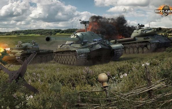 Picture field, grass, earth, smoke, shot, USSR, battle, legend, caterpillar, exhaust, Is-7, Is-4, World Of Tanks, …