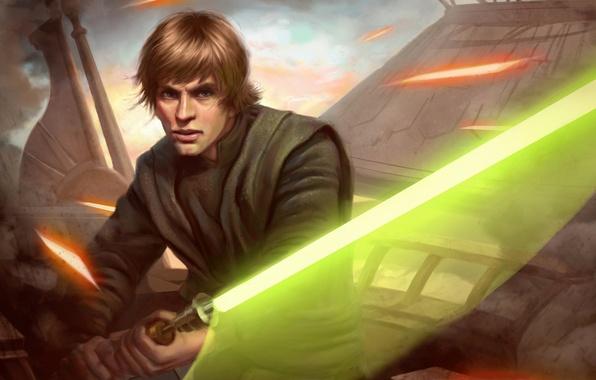 Picture Star Wars, Jedi, lightsaber, Luke Skywalker, laser beams
