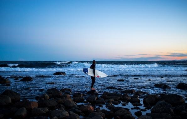 Picture waves, twilight, sea, sunset, rocks, evening, dusk, surfer, surfboard, extreme sport