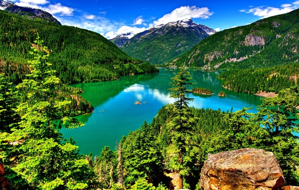 Picture forest, the sky, clouds, trees, lake, rocks, Mountains
