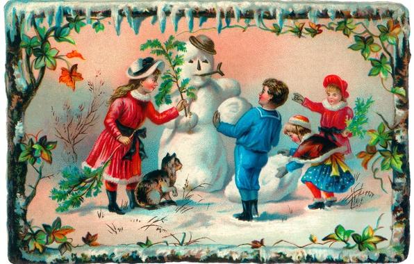 Picture winter, cat, children, girls, boy, snowman, postcard