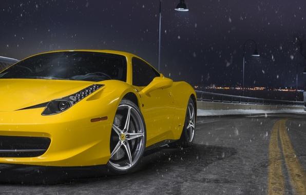 Picture Ferrari, 458, Front, Snow, Yellow, Italia, Road, Supercar, Wheels, Ligth, Nigth