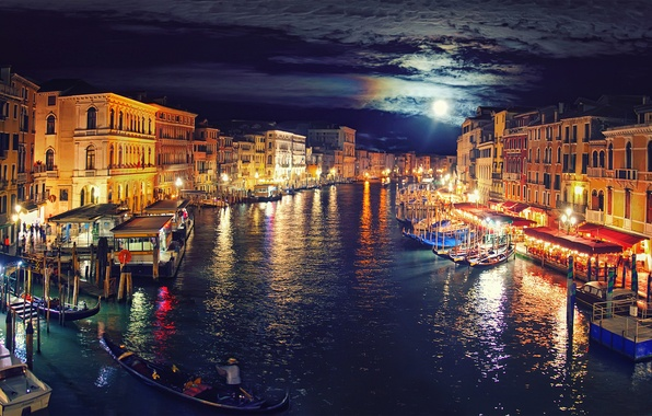 Picture the sky, clouds, night, lights, the moon, boat, channel, Italy, gondola, Venice, Venice, Grand Canal