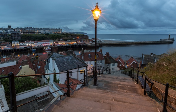 Picture sea, clouds, lights, coast, lighthouse, England, home, the evening, pier, horizon, lights, ladder, Whitby