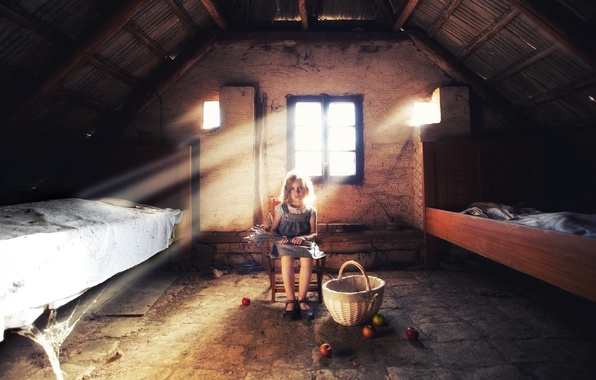 Picture basket, apples, girl, attic