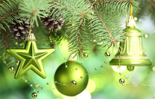 Picture stars, decoration, tree, New year, new year, stars, merry christmas, Merry Christmas, bell, green balls, …