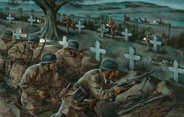 Picture war, figure, battle, art, soldiers, cemetery, shots, machine gun, rifle, WW2