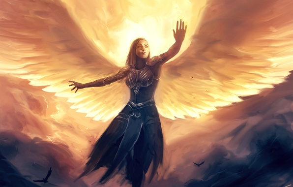 Picture look, girl, clouds, flight, birds, fiction, wings, angel, art