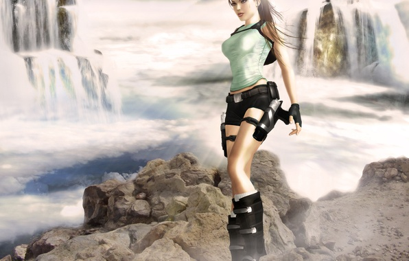 Picture look, water, girl, face, weapons, guns, shorts, waterfall, Mike, gloves, lara croft, tomb raider