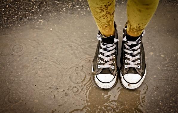 Picture rain, puddle, laces, gaze, Sneakers
