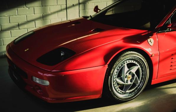 Picture red, garage, Ferrari, the front, F 512 M