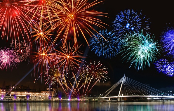 Picture the sky, water, light, night, the city, lights, salute, fireworks