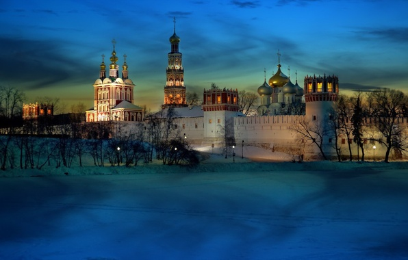 Picture light, moscow, cold, monastery, novodevichy