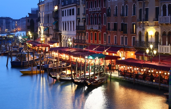 Picture people, building, home, boats, the evening, lights, Italy, Venice, channel, cafe, Italy, gondola, Venice
