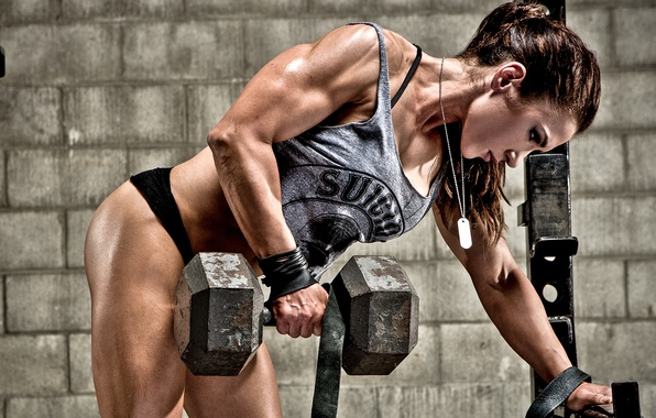 Picture woman, power, muscles, fitness, bodybuilder, hard work, transpiration