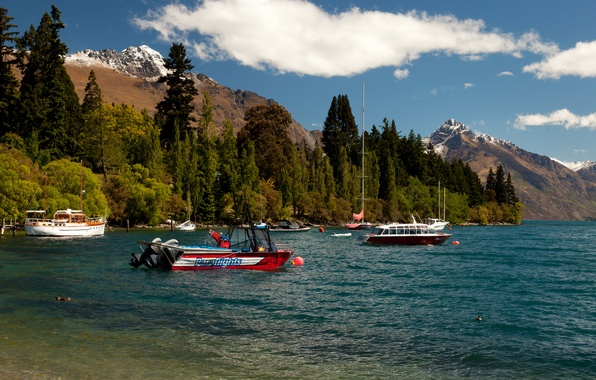 Picture forest, mountains, lake, shore, yachts, boats, New Zealand, boats, Queenstown, Lake Wakatipu
