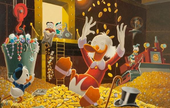 Picture coins, disney, Scrooge McDuck, ducktales, Donald duck