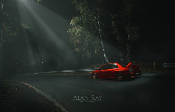 Picture light, turbo, red, forest, mitsubishi, japan, jdm, tuning, lancer, evolution, night, evo, power, midnight