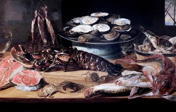 Photo wallpaper Brussels, picture, Etal of a fishmonger, Francis Snyder, Stall fishmonge