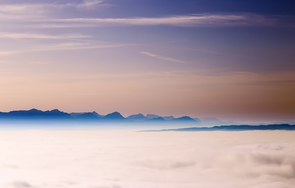 Picture the sky, clouds, mountains, fog, the evening, Switzerland, Alps