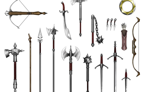 Picture spears, crossbow, quiver, mace, flail, long sword, scimitar, was hammer, short sword, battle axes, halberds, …