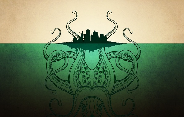Picture the city, island, monster, octopus, Cthulhu, tentacles