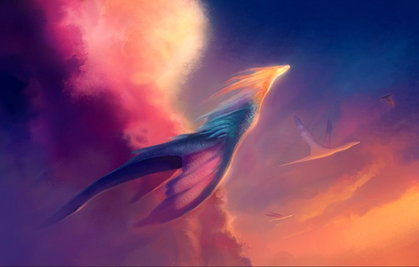 Picture the sun, light, clouds, dragons, art, flight, neo