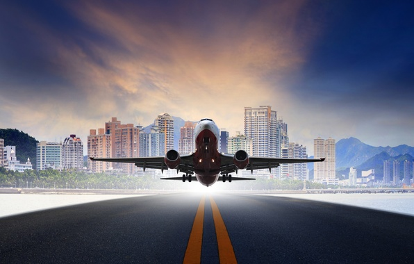 Picture the sky, asphalt, mountains, the city, the plane, background, photoshop, runway, passenger, takes off