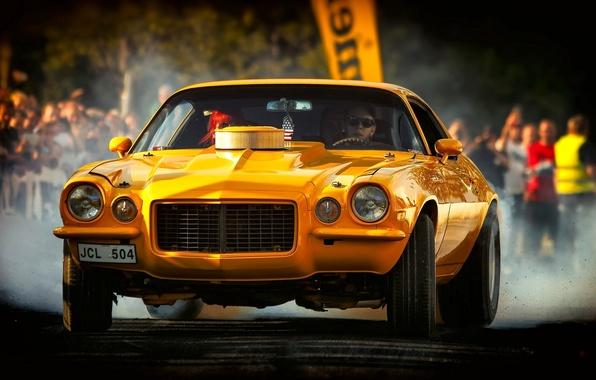 Picture yellow, Chevrolet, Camaro, Chevrolet Camaro, 1972 Chevrolet Camaro