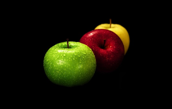 Picture yellow, red, green, moisture, Apples