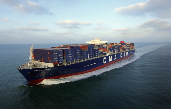 Picture the sky, Sea, Day, The ship, A container ship, Tank, On The Go, CMA CGM, …