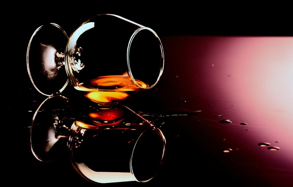 Picture glass, drops, background, glass, alcohol, drink, cognac