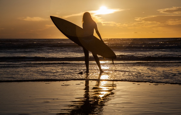 Picture sea, girl, sunset, sport, Board
